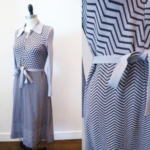 Vtg Dusty Purple Long Sleeve Knit Zig Zag Dress